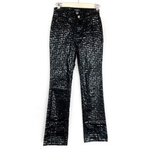 Guess Monogram Bootcut Pants Size 24 Womens Black